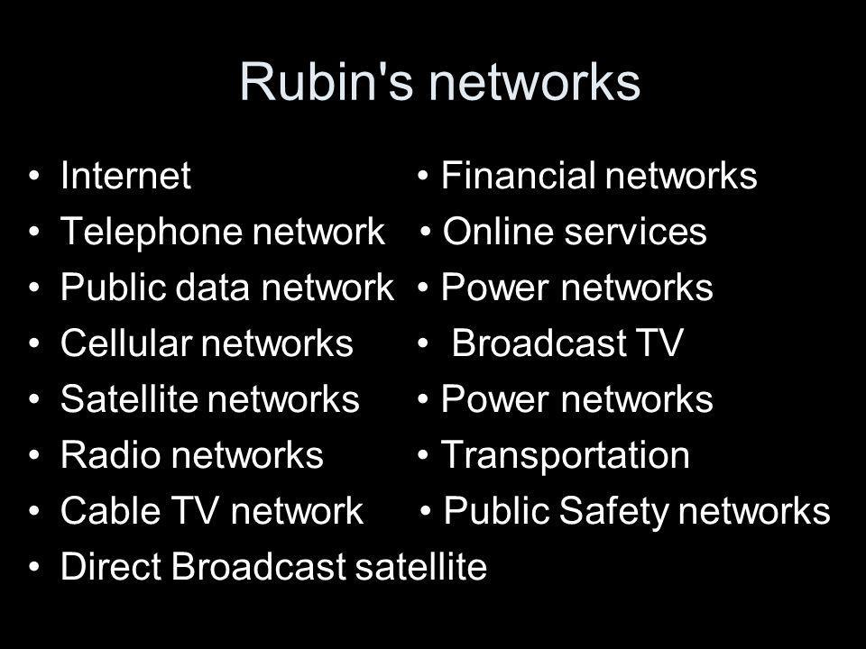 Rubin s networks Internet Financial networks Telephone network Online services Public data network Power networks Cellular networks Broadcast TV Satellite networks Power networks Radio networks Transportation Cable TV network Public Safety networks Direct Broadcast satellite