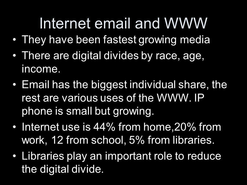 Internet email and WWW They have been fastest growing media There are digital divides by race, age, income.