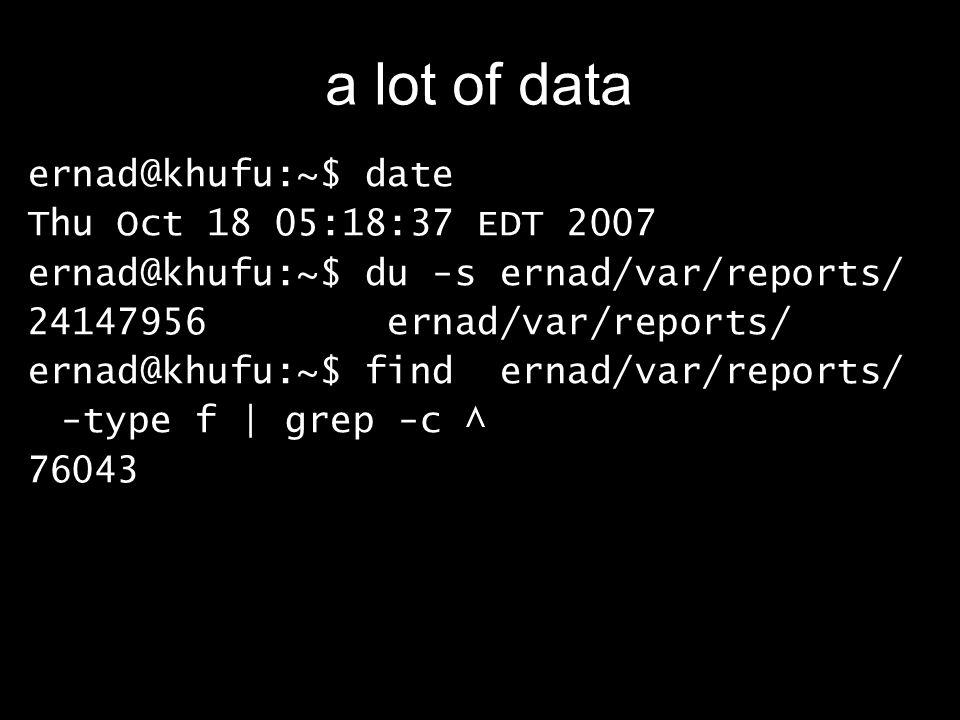 a lot of data ernad@khufu:~$ date Thu Oct 18 05:18:37 EDT 2007 ernad@khufu:~$ du -s ernad/var/reports/ 24147956 ernad/var/reports/ ernad@khufu:~$ find