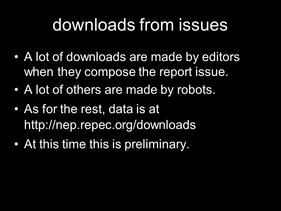 downloads from issues A lot of downloads are made by editors when they compose the report issue. A lot of others are made by robots. As for the rest,