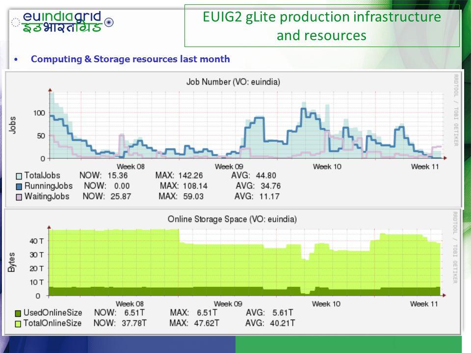 Computing & Storage resources last month