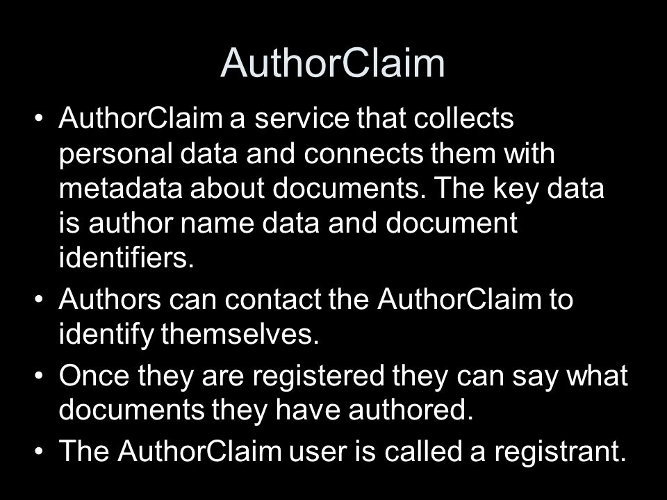AuthorClaim AuthorClaim a service that collects personal data and connects them with metadata about documents.