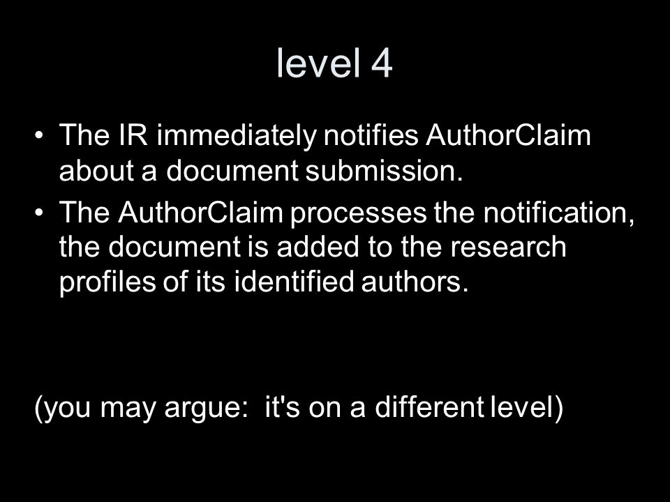 level 4 The IR immediately notifies AuthorClaim about a document submission.