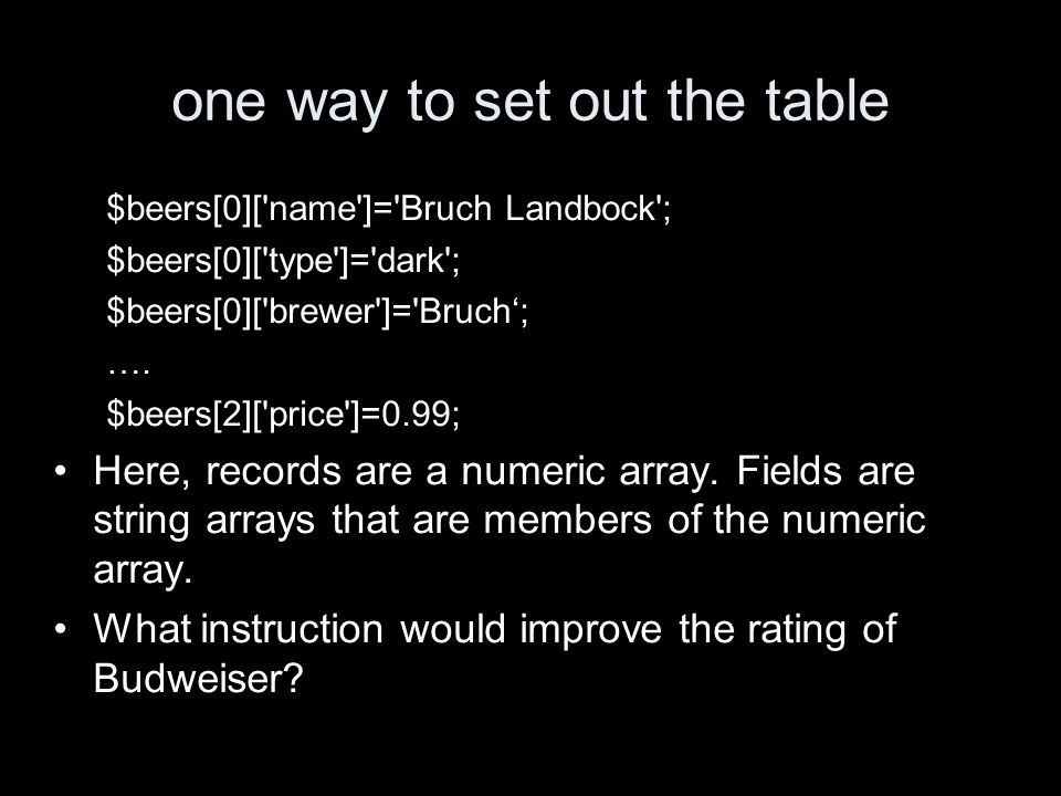 another way … $beer=array( name => Bruch Landbock , type=> dark , brewer => Bruch , rating => good , price=> 1.18 ); $beers[]=$beer; … $beer=array( name => Budweiser , type=> light , brewer => A.-B. , rating => lousy , price=>0.99); $beers[]=$beer; This will give the same array as before.