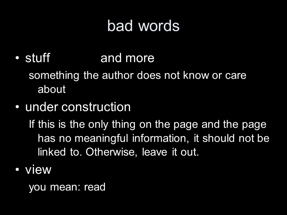 bad words stuffand more something the author does not know or care about under construction If this is the only thing on the page and the page has no