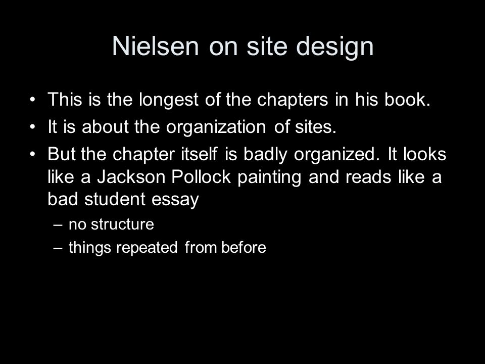 Nielsen on site design This is the longest of the chapters in his book.