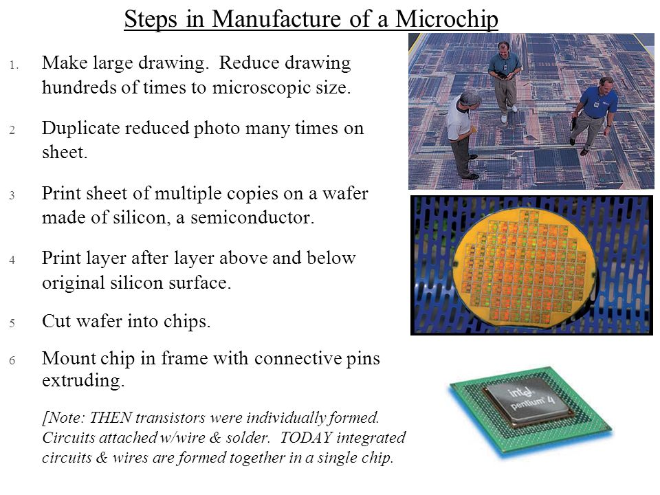 Steps in Manufacture of a Microchip 1. Make large drawing. Reduce drawing hundreds of times to microscopic size. 2 Duplicate reduced photo many times