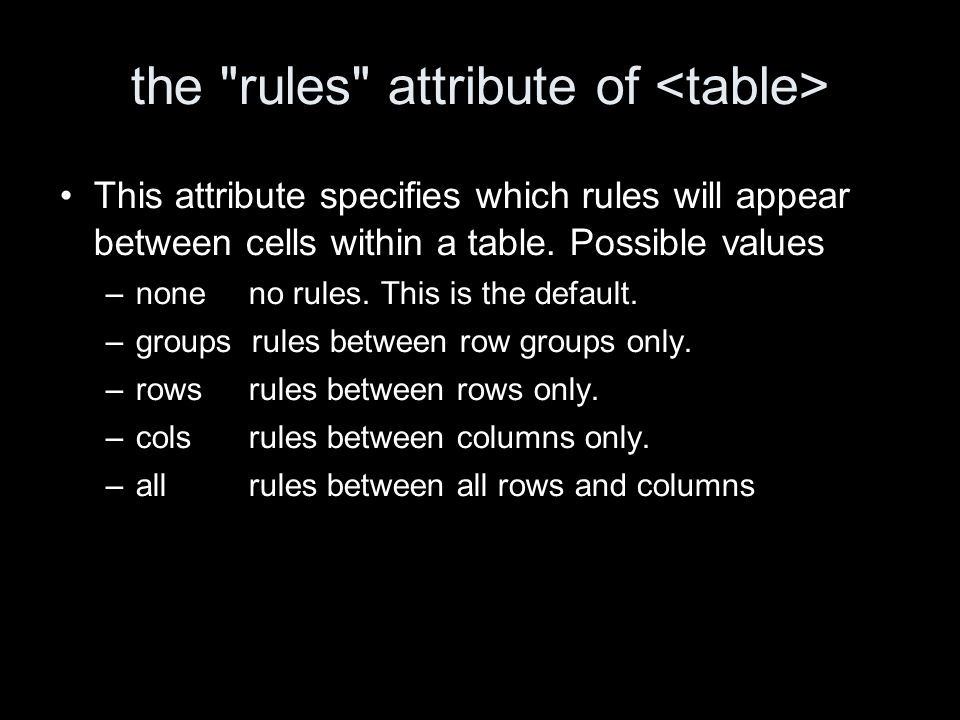 the rules attribute of This attribute specifies which rules will appear between cells within a table.