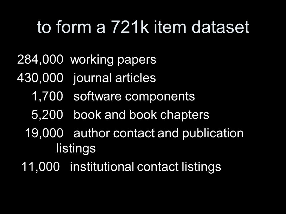 to form a 721k item dataset 284,000 working papers 430,000 journal articles 1,700 software components 5,200 book and book chapters 19,000 author contact and publication listings 11,000 institutional contact listings