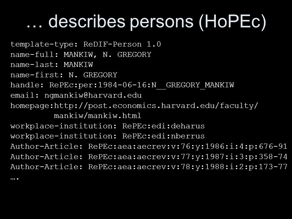 … describes persons (HoPEc) template-type: ReDIF-Person 1.0 name-full: MANKIW, N. GREGORY name-last: MANKIW name-first: N. GREGORY handle: RePEc:per:1