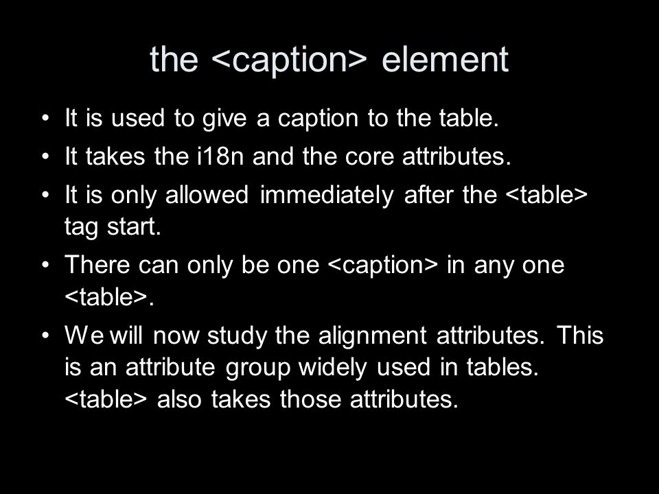 the element It is used to give a caption to the table.
