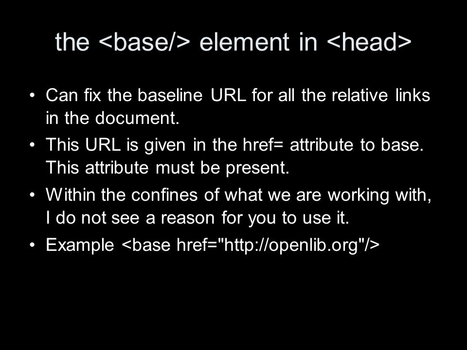 the element in Can fix the baseline URL for all the relative links in the document.
