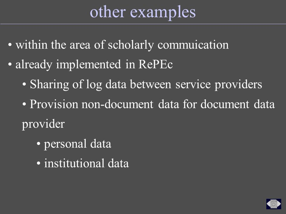 other examples within the area of scholarly commuication already implemented in RePEc Sharing of log data between service providers Provision non-document data for document data provider personal data institutional data