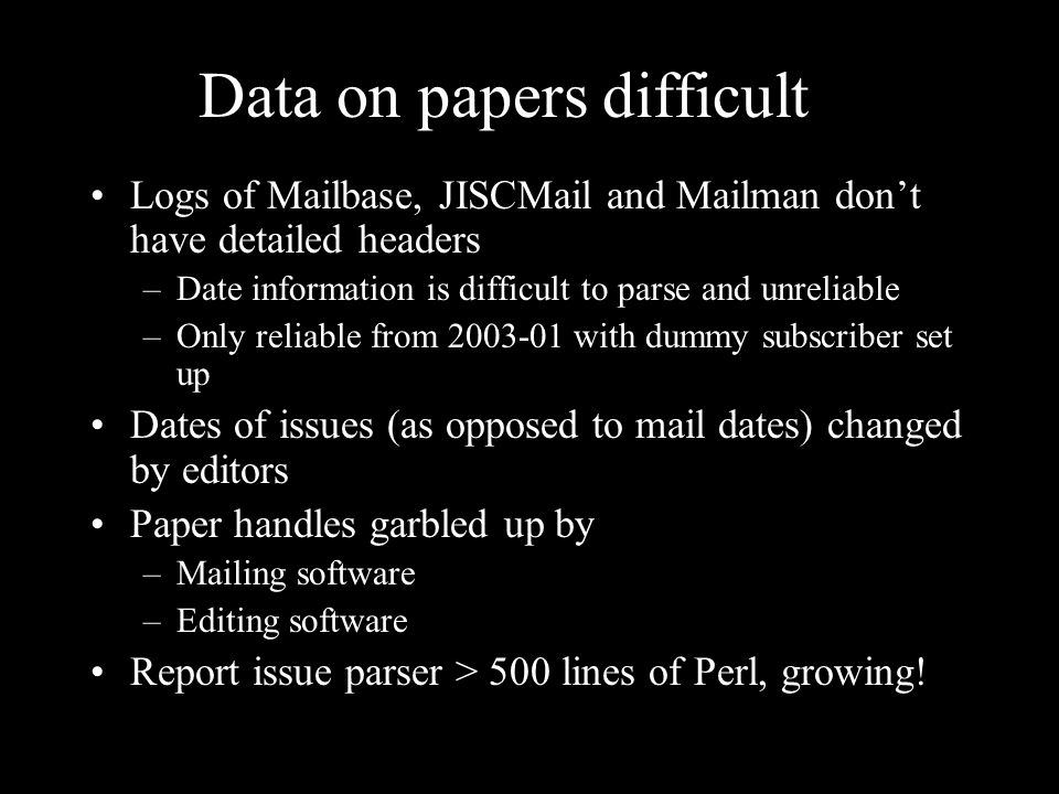 Data on papers difficult Logs of Mailbase, JISCMail and Mailman dont have detailed headers –Date information is difficult to parse and unreliable –Only reliable from with dummy subscriber set up Dates of issues (as opposed to mail dates) changed by editors Paper handles garbled up by –Mailing software –Editing software Report issue parser > 500 lines of Perl, growing!