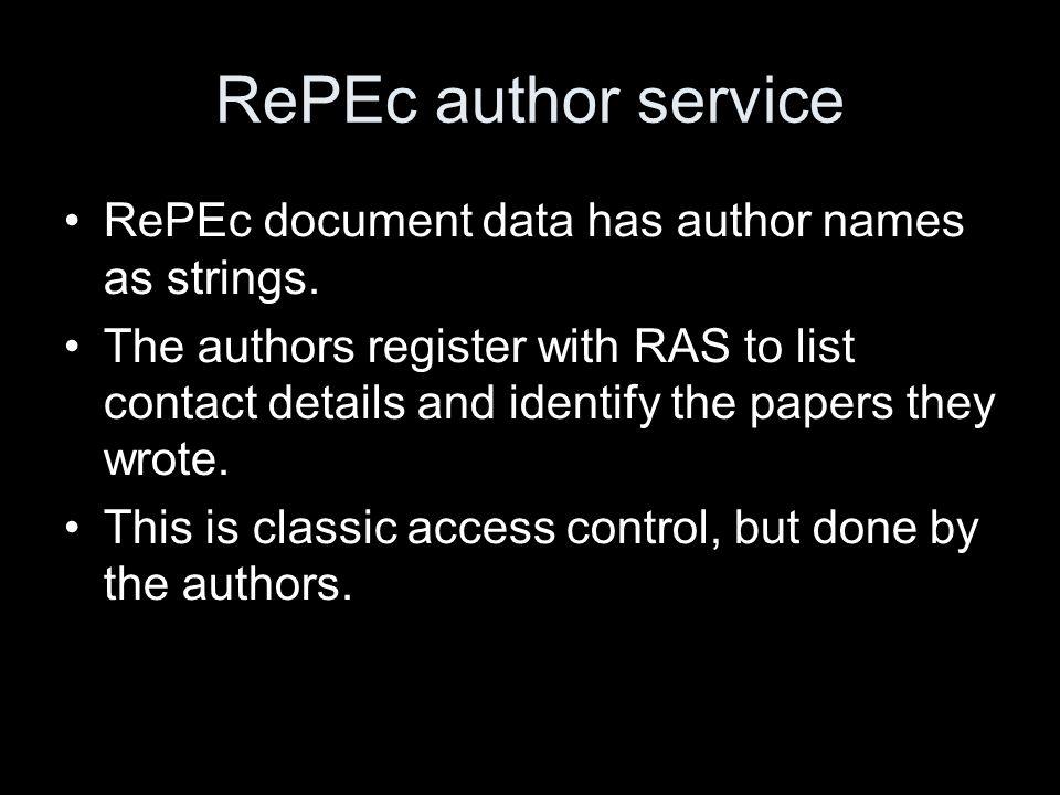 RePEc author service RePEc document data has author names as strings.
