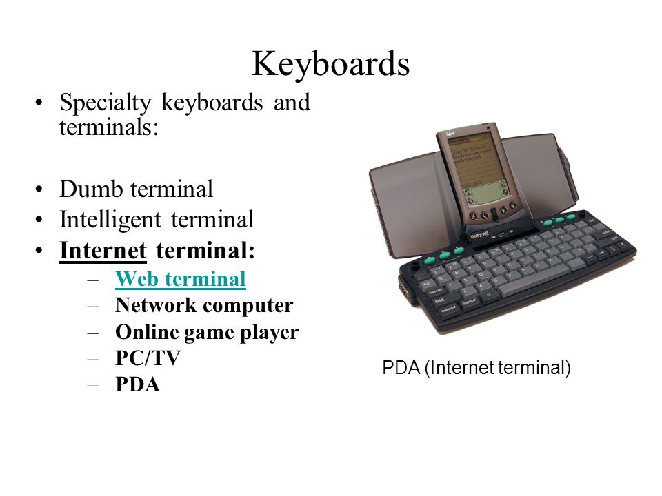 Keyboards Specialty keyboards and terminals: Dumb terminal Intelligent terminal Internet terminal: –Web terminalWeb terminal –Network computer –Online