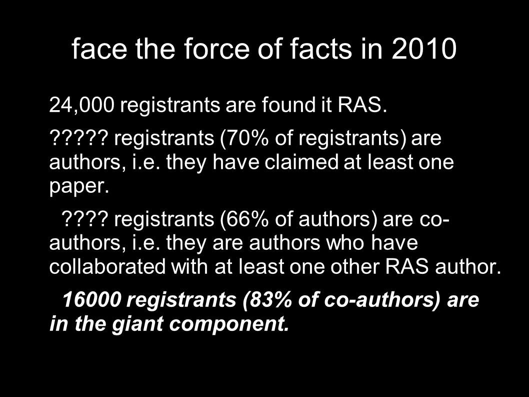 face the force of facts in 2010 24,000 registrants are found it RAS.