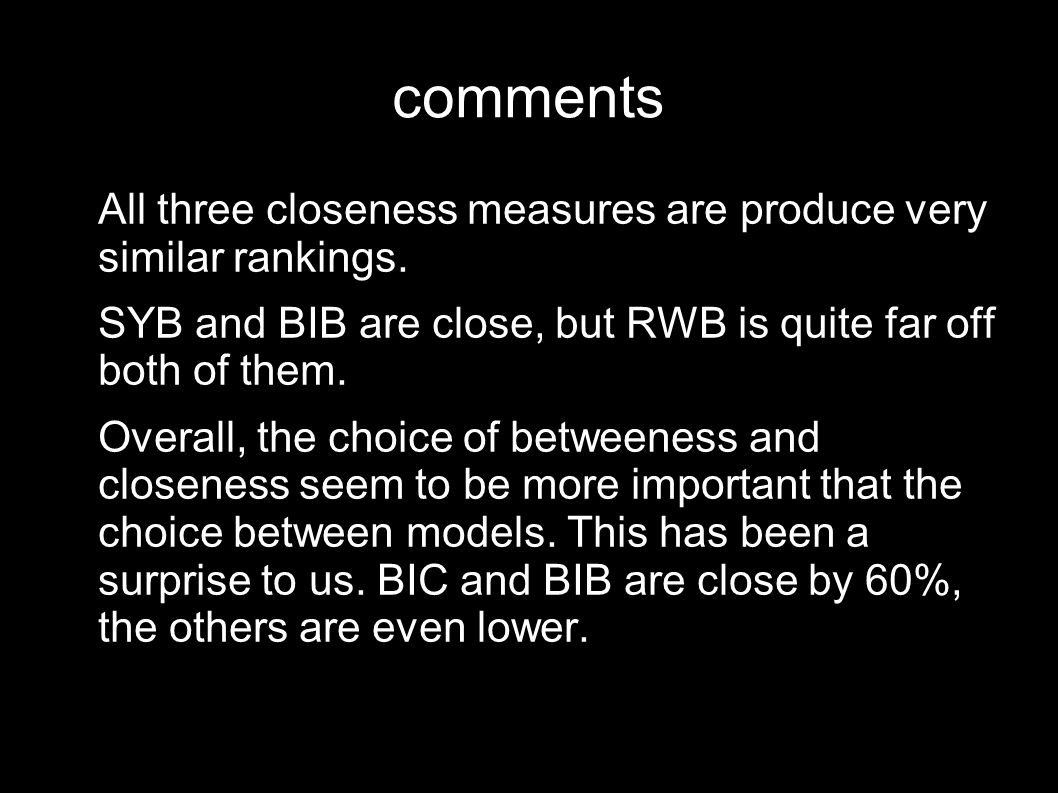 comments All three closeness measures are produce very similar rankings.