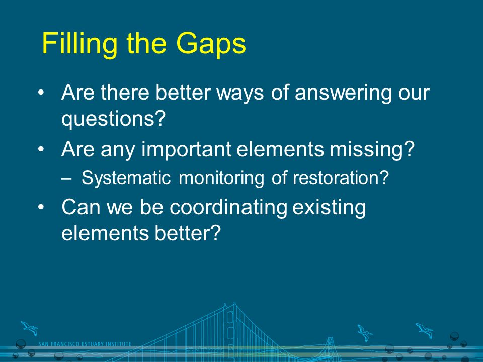 Filling the Gaps Are there better ways of answering our questions? Are any important elements missing? –Systematic monitoring of restoration? Can we b