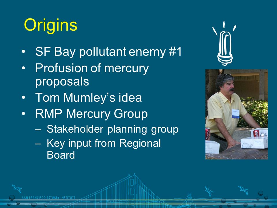 Origins SF Bay pollutant enemy #1 Profusion of mercury proposals Tom Mumleys idea RMP Mercury Group –Stakeholder planning group –Key input from Regional Board