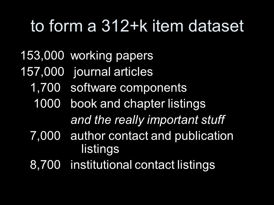 to form a 312+k item dataset 153,000 working papers 157,000 journal articles 1,700 software components 1000 book and chapter listings and the really important stuff 7,000 author contact and publication listings 8,700 institutional contact listings
