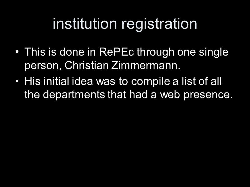 author registration Done through the RePEc author service.