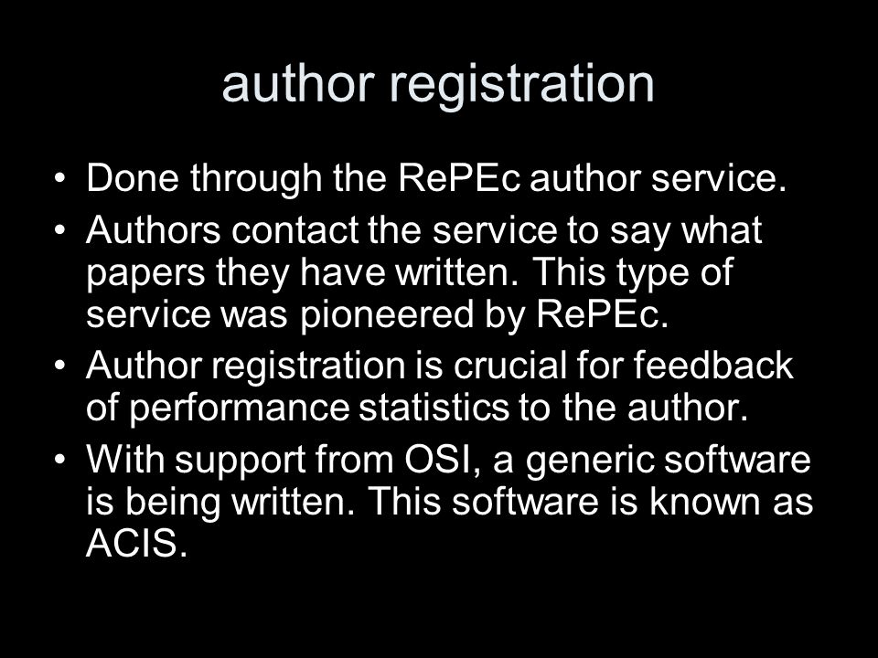 technical innovation RePEc is built on attribute: value templates.