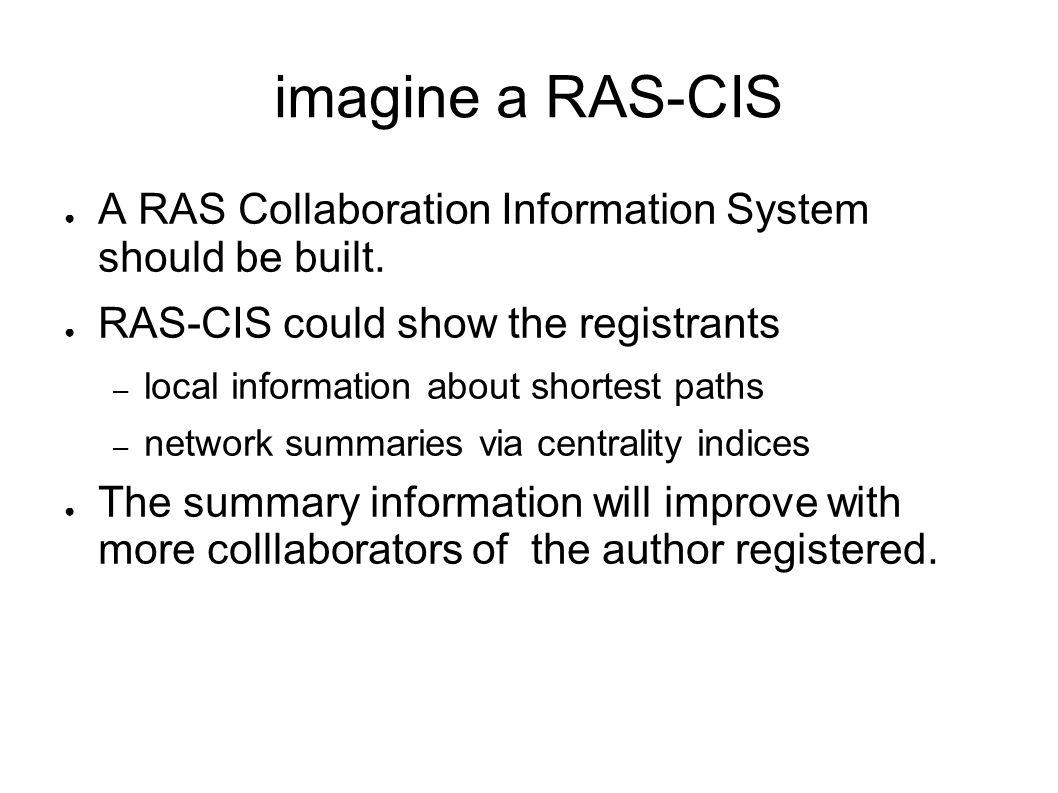 imagine a RAS-CIS A RAS Collaboration Information System should be built. RAS-CIS could show the registrants – local information about shortest paths
