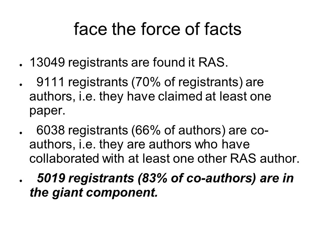 face the force of facts 13049 registrants are found it RAS.