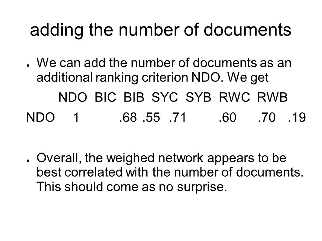 adding the number of documents We can add the number of documents as an additional ranking criterion NDO.