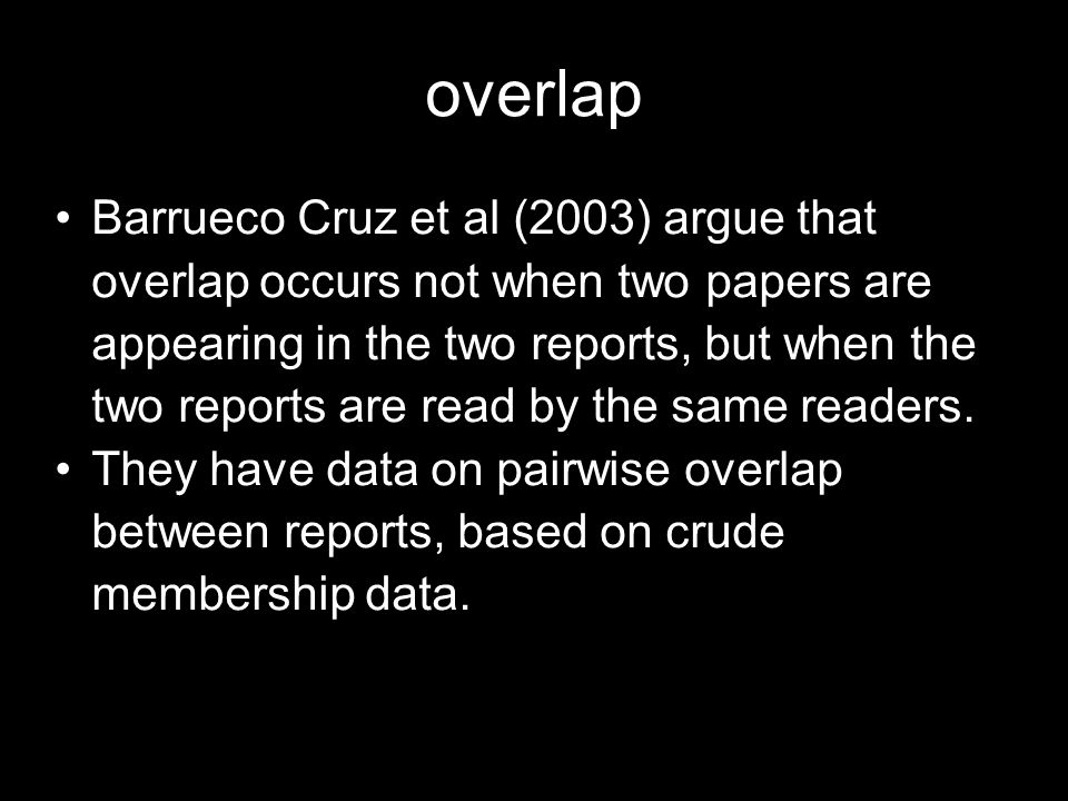 overlap Barrueco Cruz et al (2003) argue that overlap occurs not when two papers are appearing in the two reports, but when the two reports are read by the same readers.