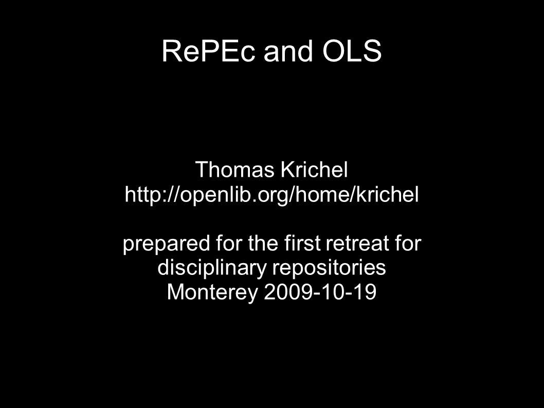 notable absences RePEc has no organizational structure.