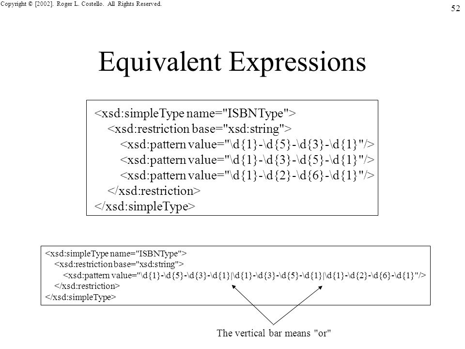 Copyright © [2002]. Roger L. Costello. All Rights Reserved. 52 Equivalent Expressions The vertical bar means