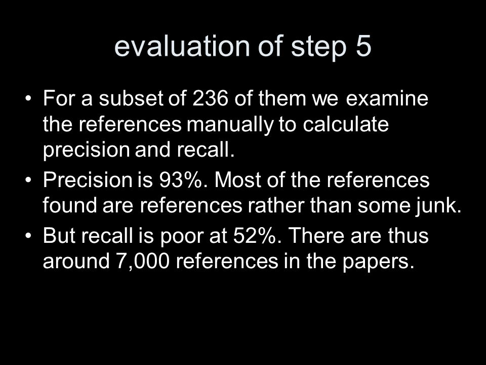 evaluation of step 5 For a subset of 236 of them we examine the references manually to calculate precision and recall.