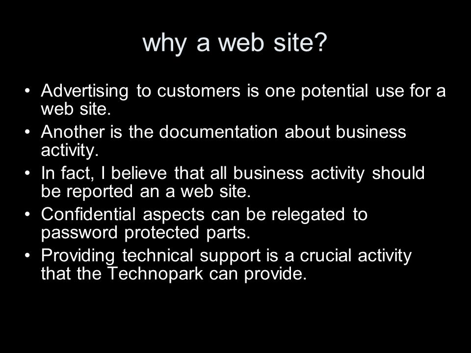 why a web site? Advertising to customers is one potential use for a web site. Another is the documentation about business activity. In fact, I believe