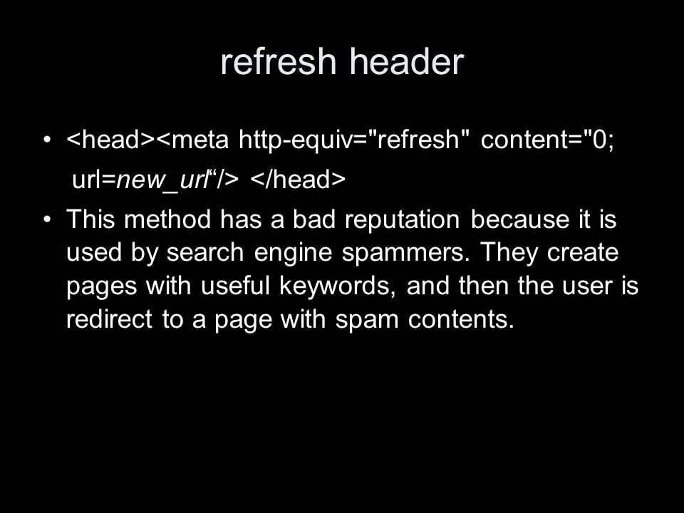 refresh header <meta http-equiv=
