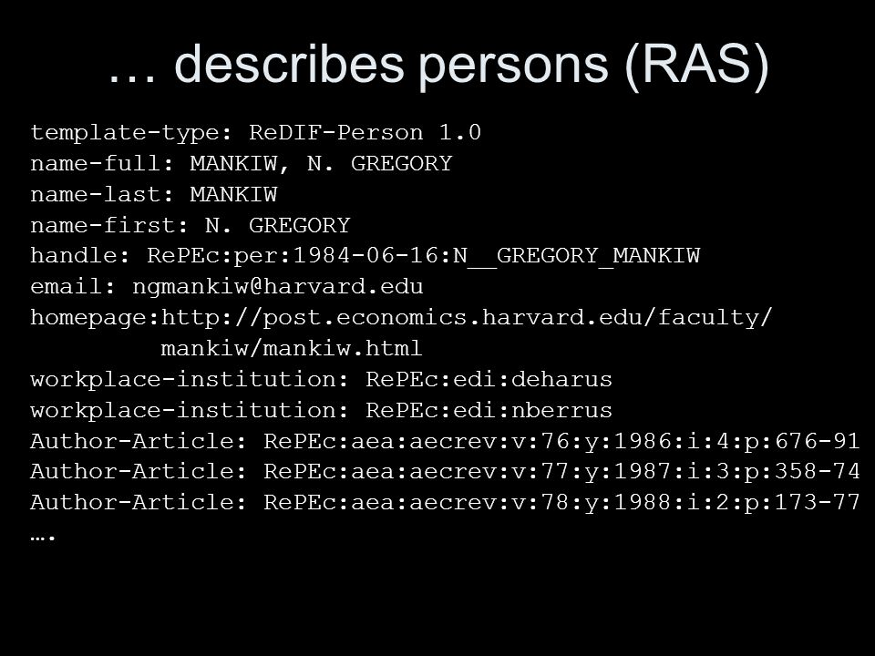 … describes persons (RAS) template-type: ReDIF-Person 1.0 name-full: MANKIW, N. GREGORY name-last: MANKIW name-first: N. GREGORY handle: RePEc:per:198