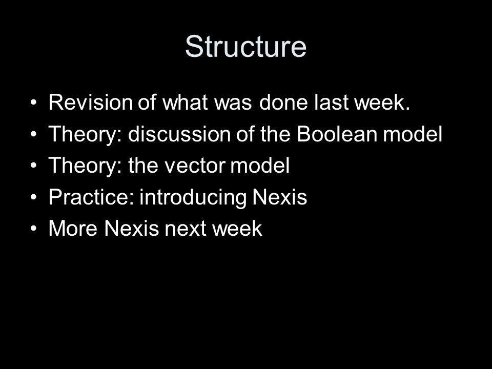 Structure Revision of what was done last week.