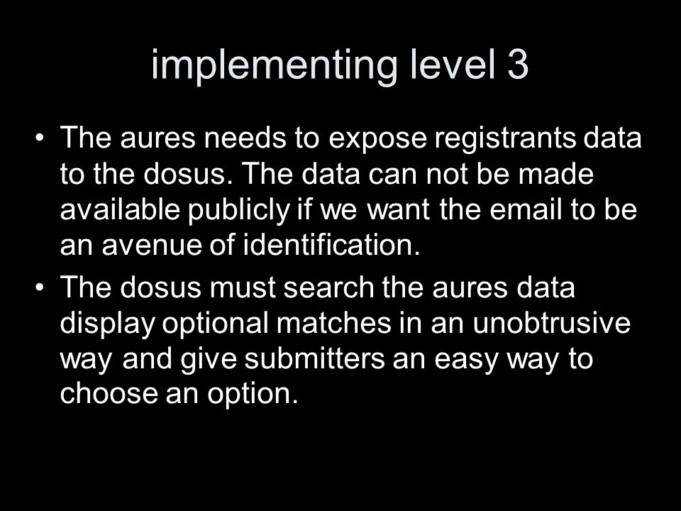 implementing level 3 The aures needs to expose registrants data to the dosus.