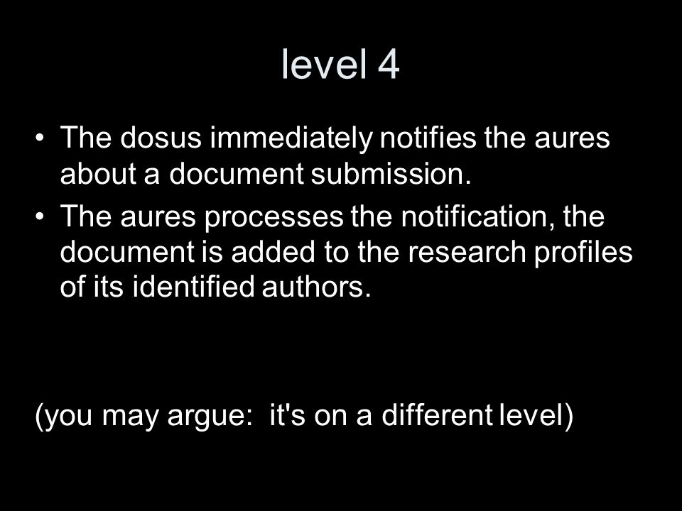 level 4 The dosus immediately notifies the aures about a document submission.
