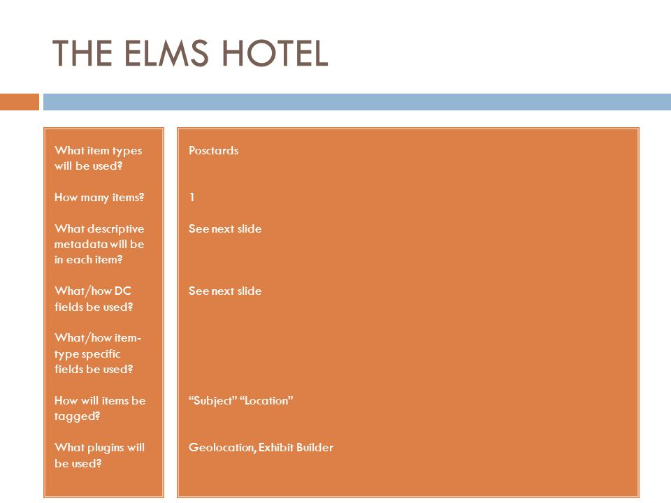 THE ELMS HOTEL What item types will be used? How many items? What descriptive metadata will be in each item? What/how DC fields be used? What/how item