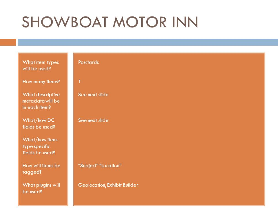 SHOWBOAT MOTOR INN What item types will be used? How many items? What descriptive metadata will be in each item? What/how DC fields be used? What/how