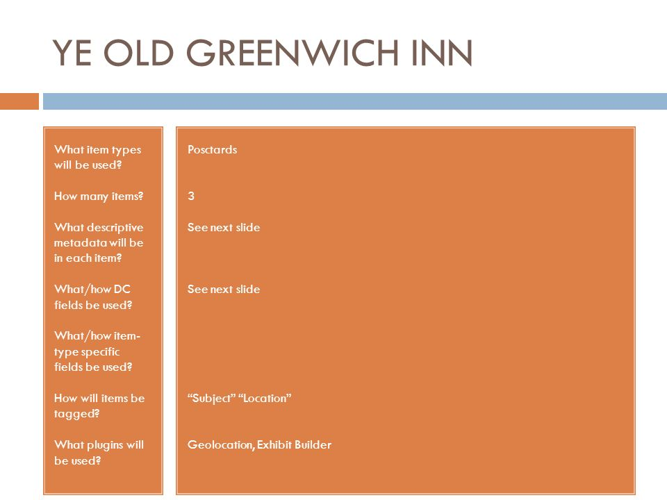 YE OLD GREENWICH INN What item types will be used.