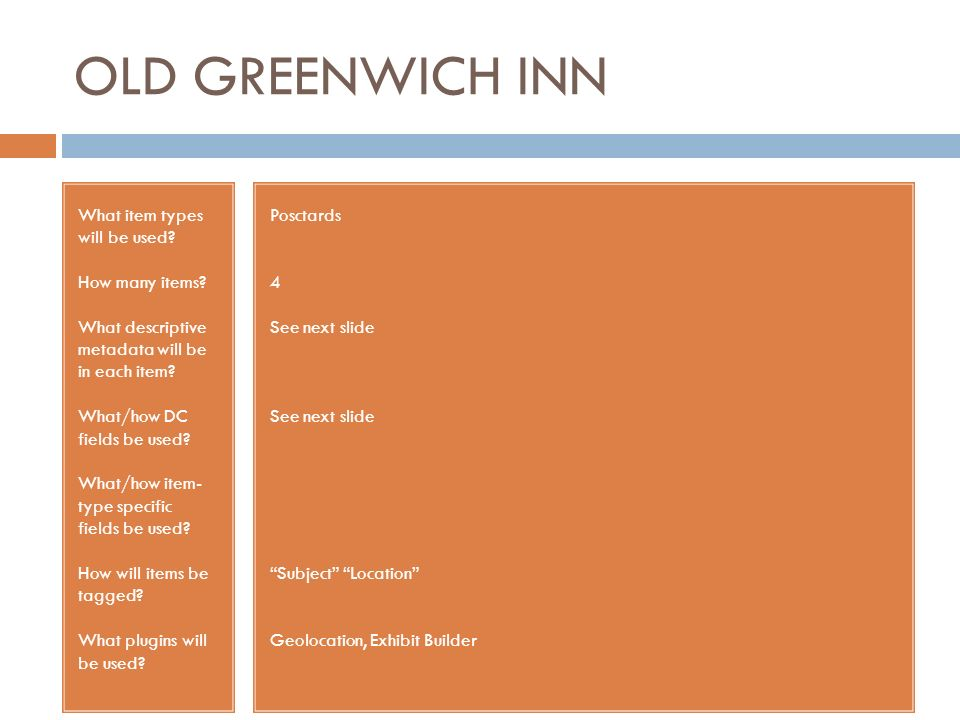 OLD GREENWICH INN What item types will be used. How many items.