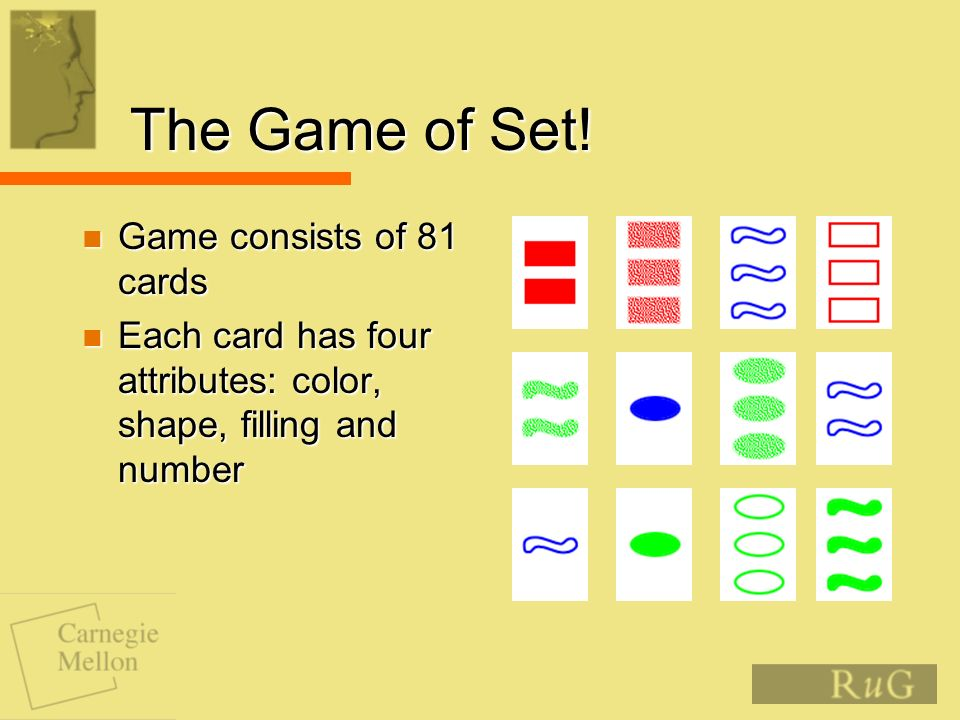 The Game of Set! Game consists of 81 cards Game consists of 81 cards Each card has four attributes: color, shape, filling and number Each card has fou