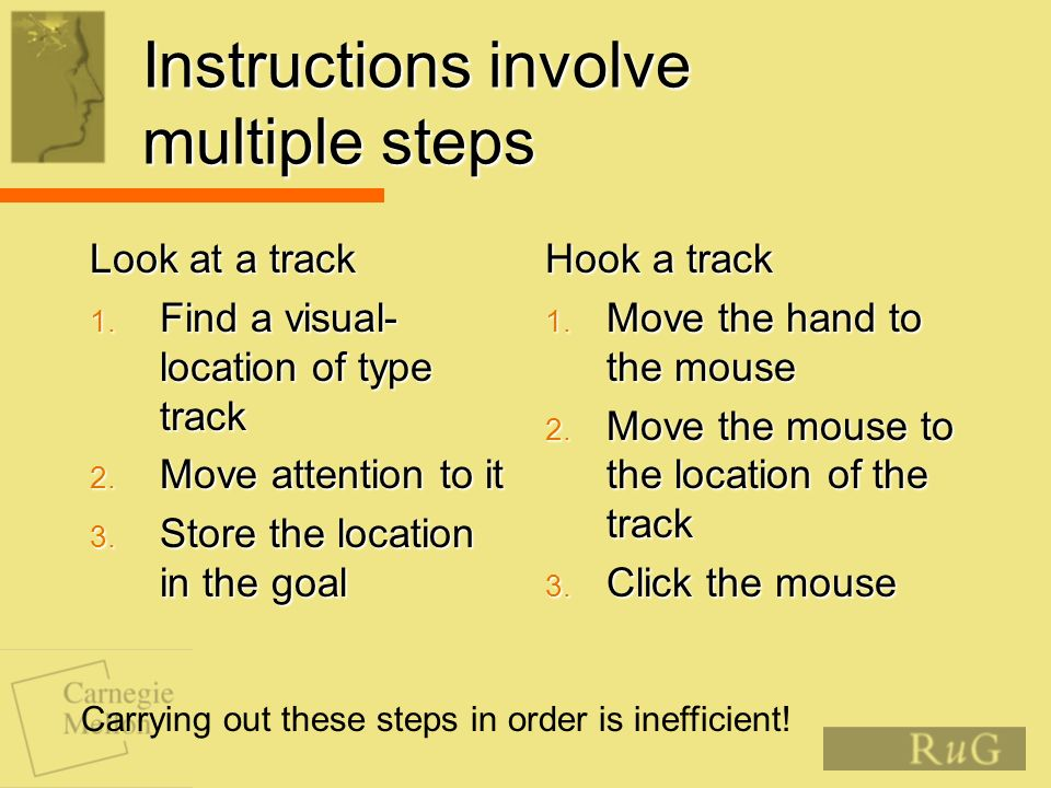 Instructions involve multiple steps Look at a track 1.