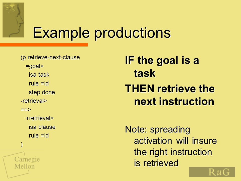 Example productions (p retrieve-next-clause =goal> =goal> isa task isa task rule =id rule =id step done step done-retrieval>==> +retrieval> +retrieval> isa clause isa clause rule =id rule =id) IF the goal is a task THEN retrieve the next instruction Note: spreading activation will insure the right instruction is retrieved
