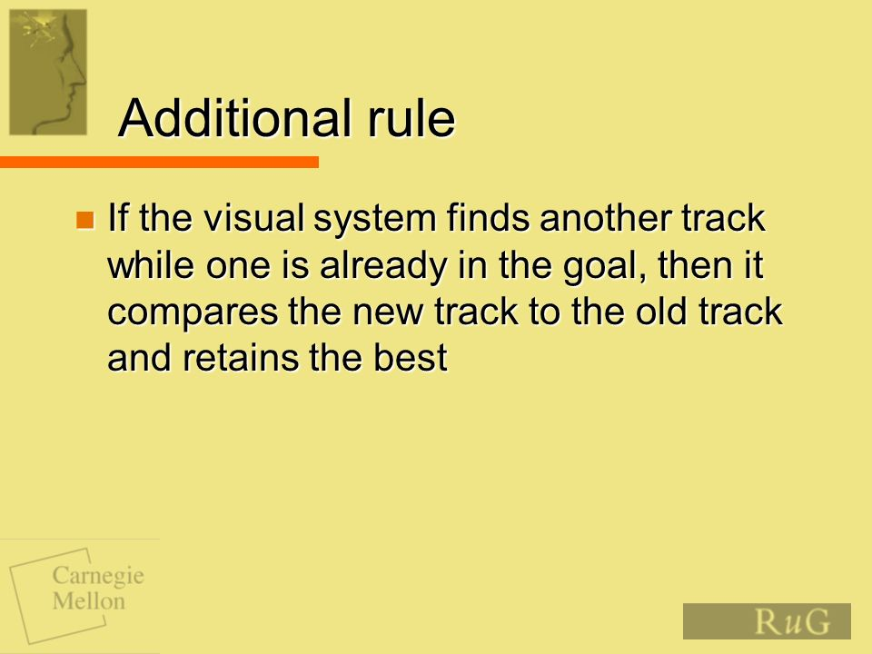 Additional rule If the visual system finds another track while one is already in the goal, then it compares the new track to the old track and retains the best If the visual system finds another track while one is already in the goal, then it compares the new track to the old track and retains the best