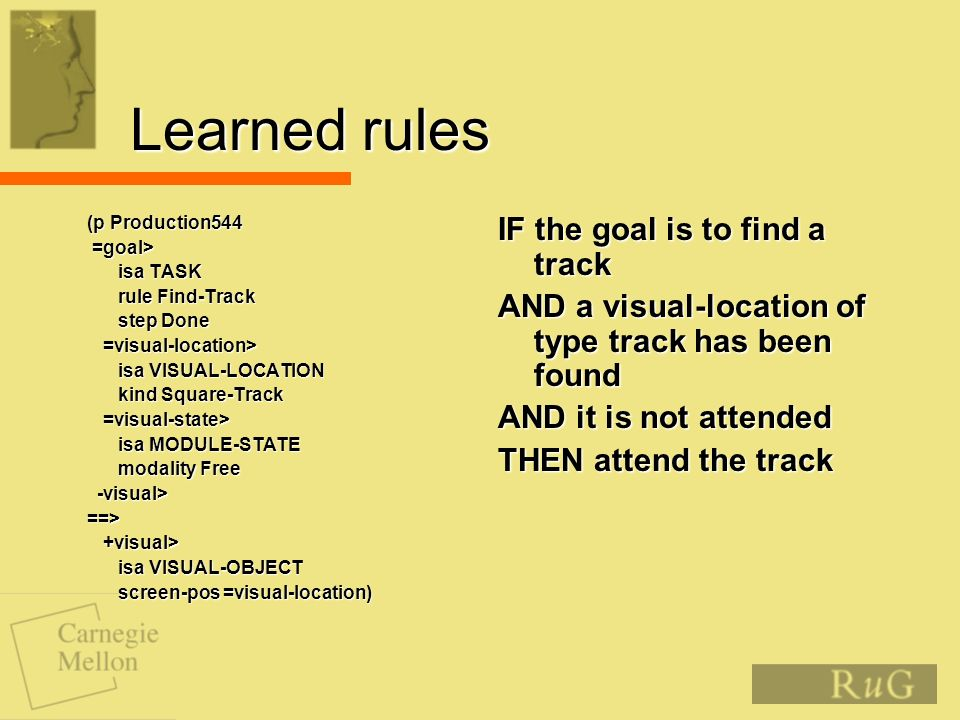Learned rules (p Production544 (p Production544 =goal> =goal> isa TASK isa TASK rule Find-Track rule Find-Track step Done step Done =visual-location> =visual-location> isa VISUAL-LOCATION isa VISUAL-LOCATION kind Square-Track kind Square-Track =visual-state> =visual-state> isa MODULE-STATE isa MODULE-STATE modality Free modality Free -visual> -visual> ==> ==> +visual> +visual> isa VISUAL-OBJECT isa VISUAL-OBJECT screen-pos =visual-location) screen-pos =visual-location) IF the goal is to find a track AND a visual-location of type track has been found AND it is not attended THEN attend the track