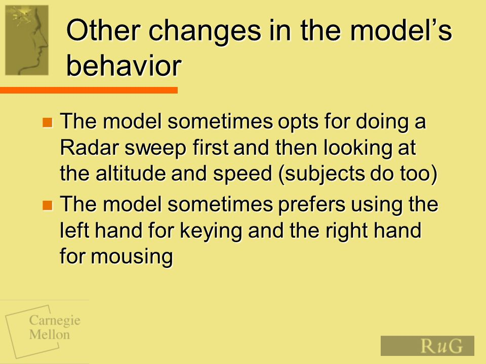 Other changes in the models behavior The model sometimes opts for doing a Radar sweep first and then looking at the altitude and speed (subjects do to